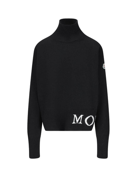 Women's Moncler Intarsia Jumper in Black. 0939F71700A9564999