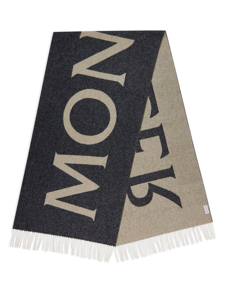 Women's Moncler Intarsia Logo Scarf in Charcoal - 0933C72000A0148928