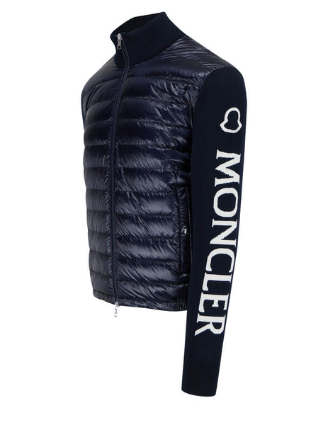 Men's Moncler Jacquard Logo Knit Cardigan in Dark Blue - 0919B52100V9059742