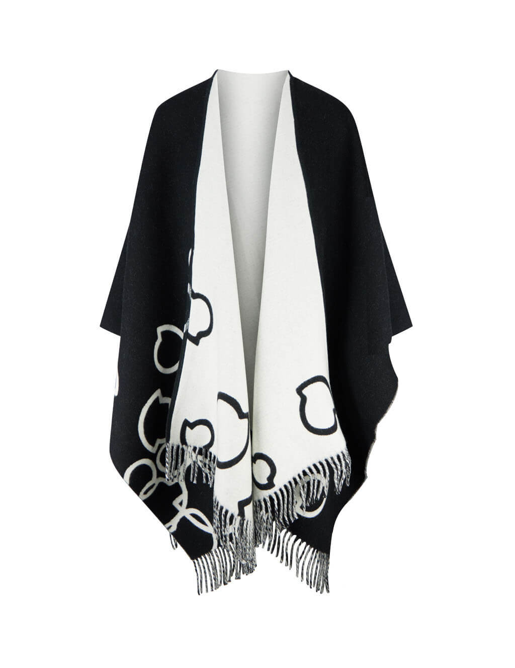 Women's Black and White Moncler Logo Cape 0933G71600A0104999