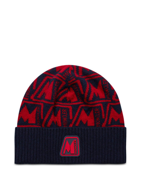 Moncler Men's Giulio Fashion Navy Logo Pattern Beanie 0919Z75400A9379456