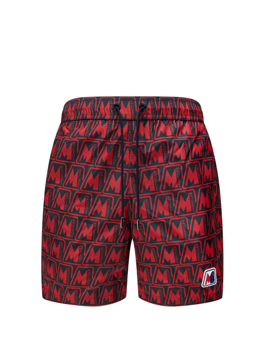 Men's Red Moncler Logo Print Swim Shorts 0912C7110054AQH450