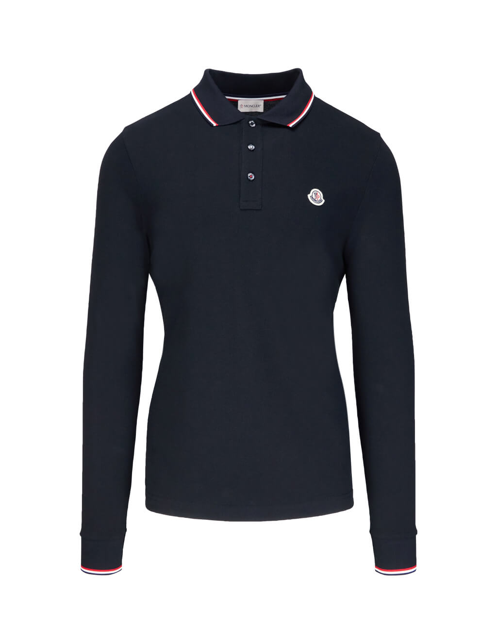 3d9e21460 Moncler Navy Blue Long Sleeve Polo Shirt | GIULIOFASHION.COM ...