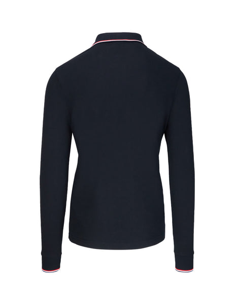 Moncler Navy Blue Men's Giulio Fashion Navy Long Sleeve Polo Shirt 834800084556773