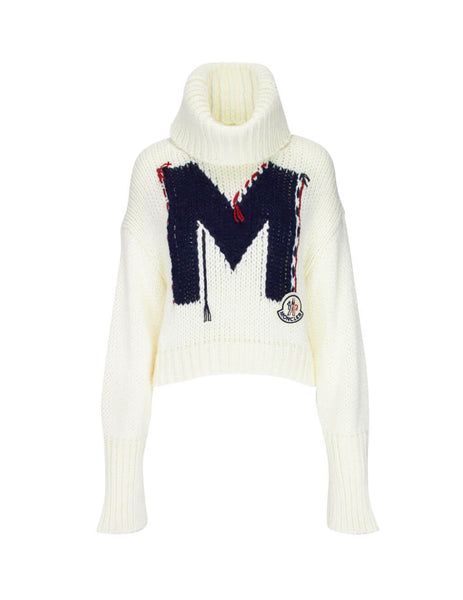 Moncler Women's Giulio Fashion Cream M Intarsia Knit 9254450A9169034