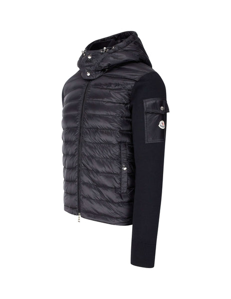 Moncler Men's Giulio Fashion Black Hooded Tricot Cardigan 9420400A9012999