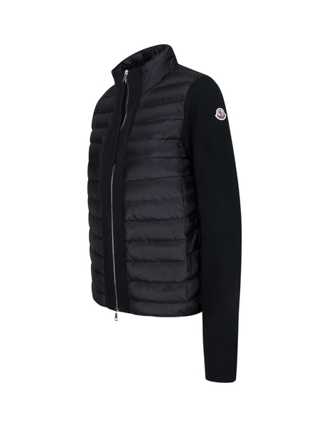 Moncler Women's Giulio Fashion Black Padded Tricot Cardigan 9454700A9000999