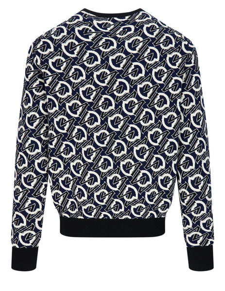 Men's Moncler Monogram Logo Jacquard Jumper in Navy Blue - 0919C76200V9157779