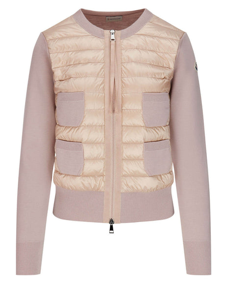 Women's Moncler Nylon Quilted Knit Cardigan in Pastel Pink - 0939B51000A9018511