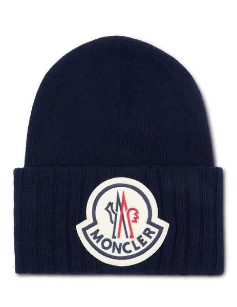 Moncler Men's Giulio Fashion Navy Oversized Logo Beanie 9926200A9186778