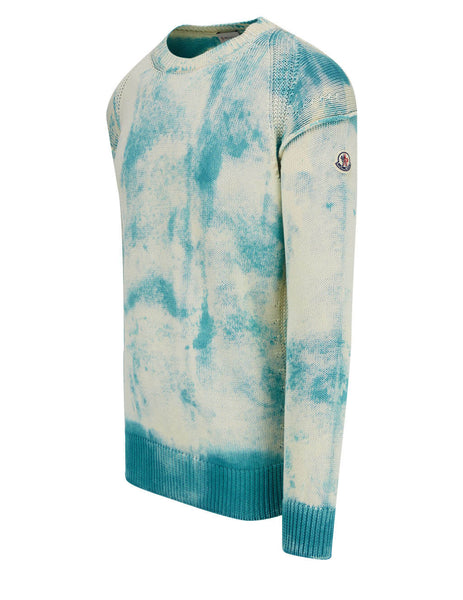 Men's Moncler Oversized Tie-Dye Jumper in Sky Blue/White - 0919C77660V9170849