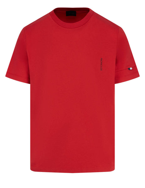 Men's Moncler Perforated Label T-Shirt in Red - 0918C7B210829H8455