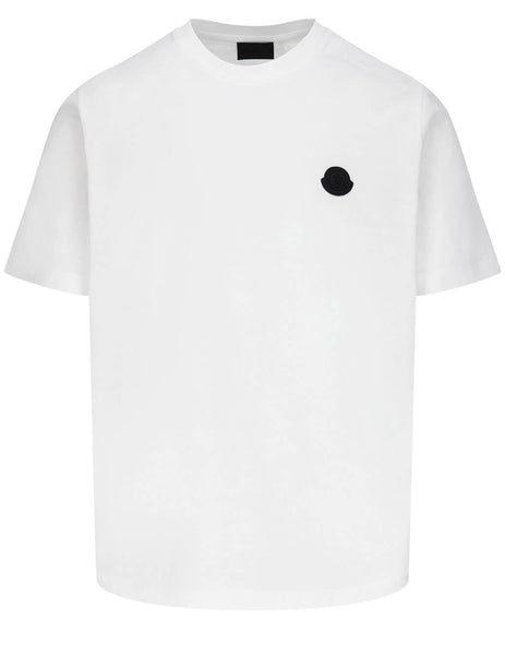 Men's Moncler Piqué Inlay Logo T-Shirt in White - 0918C7B3108390Y001