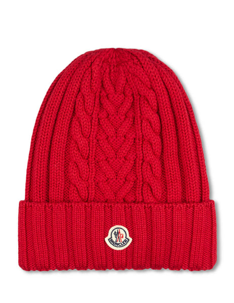 Moncler Women's Red Plaited Wool Beanie 9963300A9146440