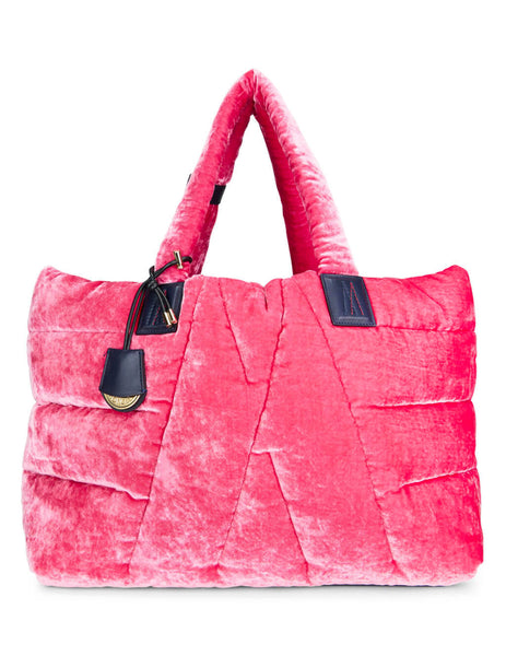 Moncler Women's Giulio Fashion Bright Pink Quilted Velvet Tote 3014500549SF535