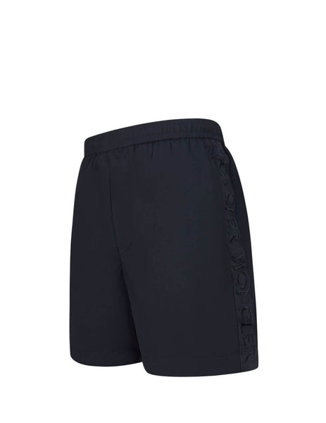 Men's Navy Moncler Ribbon Trimming Swim Shorts 0912B71160C0469743