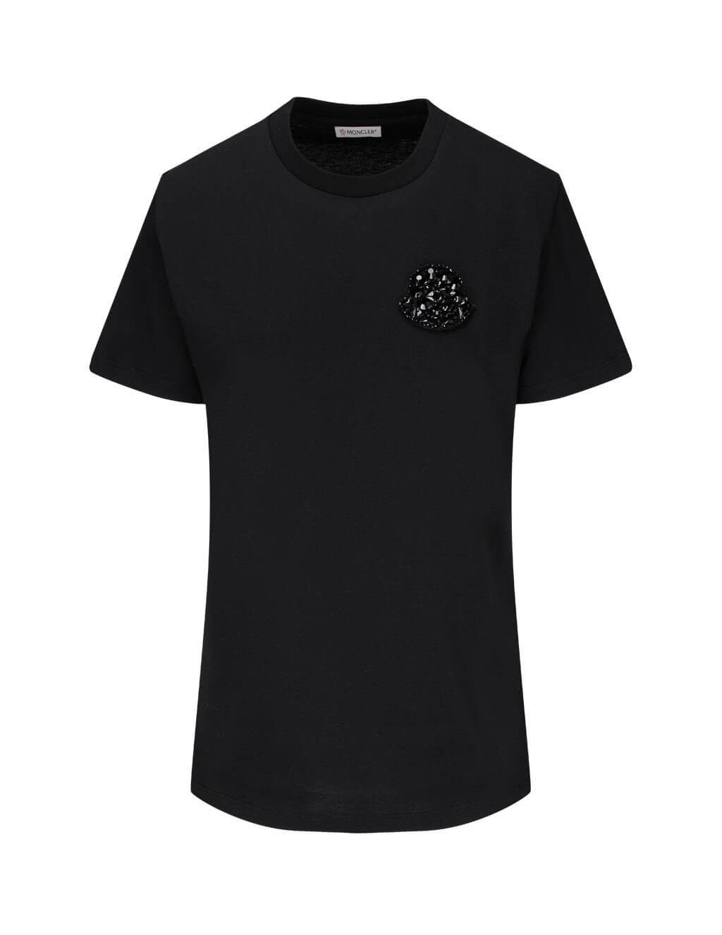 Women's Moncler Sequin Logo T-Shirt in Black. 0938C77700V8058999