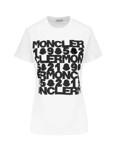 Moncler Women's White Sequin Logo T Shirt 8090850V8093001