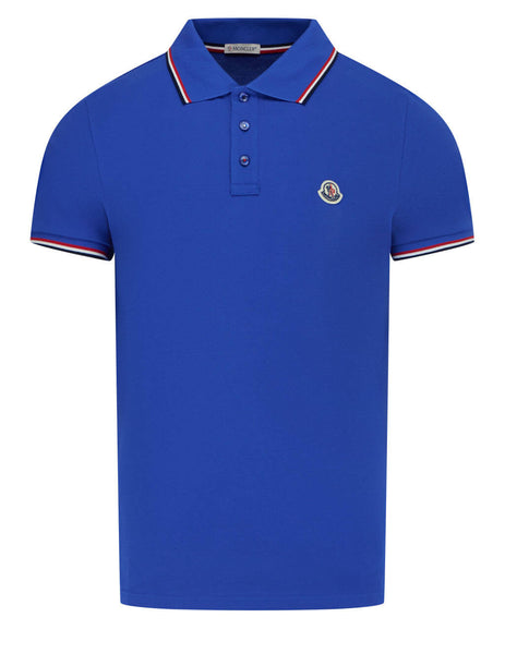 Men's Moncler Short Sleeved Polo Shirt in Blue - 0918A7030084556708