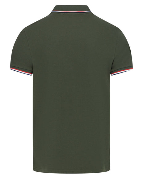 Men's Moncler Short Sleeved Polo Shirt in Olive Green - 0918A703008455684M