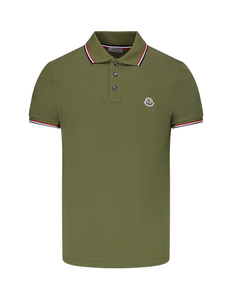 Moncler Men's Olive Green Short Sleeved Polo Shirt 0918A7030084556829
