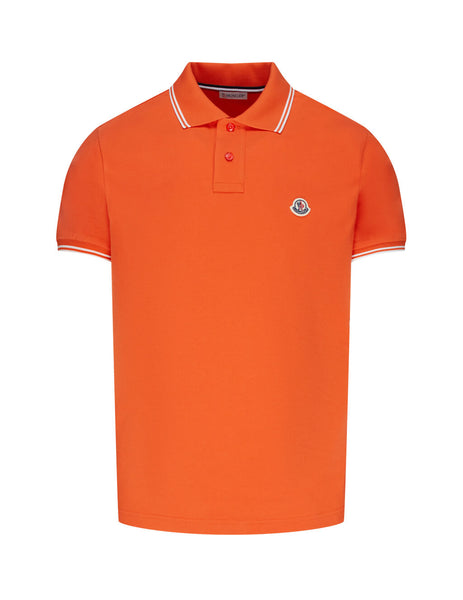 Moncler Men's Orange Short Sleeved Polo Shirt 0918A7060084556326