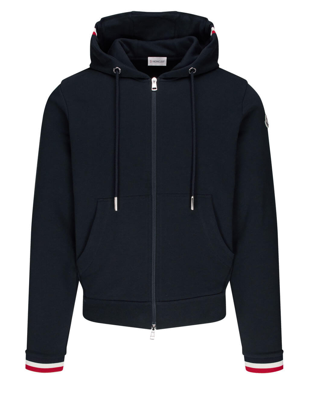 Moncler Men's Dark Blue Tricolour Stripe Zip Hoodie 0918G74200V8007778