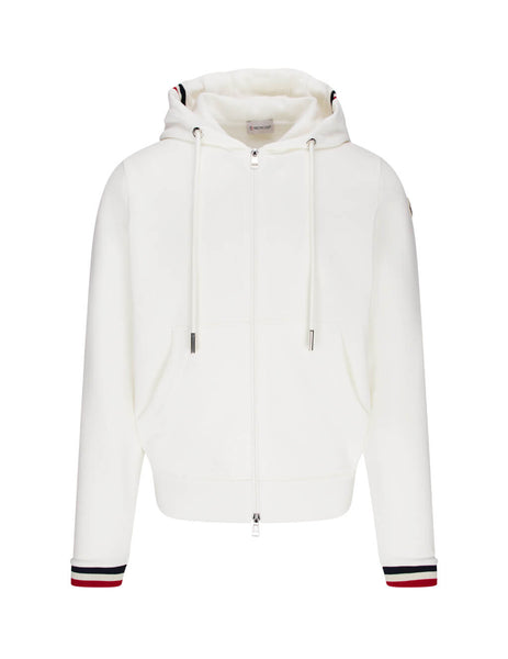 Moncler Men's White Tricolour Stripe Zip Hoodie 0918G74200V8007034