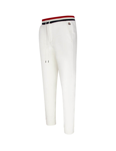 Moncler Men's White Tricolour Waistband Sweatpants 0918H70400V8007034