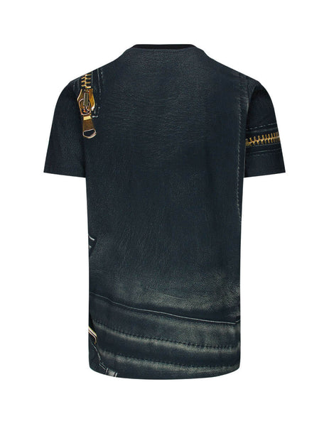 Men's Black Moschino Leather Jacket Print T-Shirt 07185240A1888
