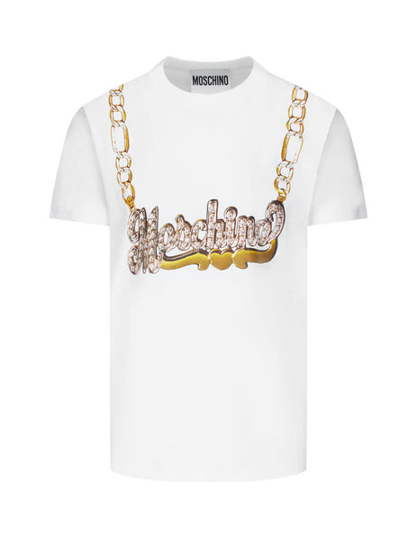 Men's White Moschino Macro Necklace Jersey T-Shirt 07165240A2001