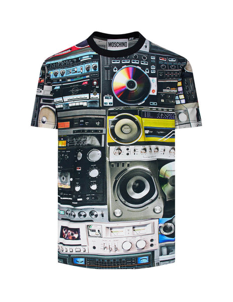 Men's Black Moschino Stereo Print T-Shirt 07035240A1555