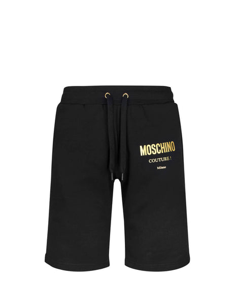 Moschino Men's Giulio Fashion Black Lamé Logo Shorts A037152271555