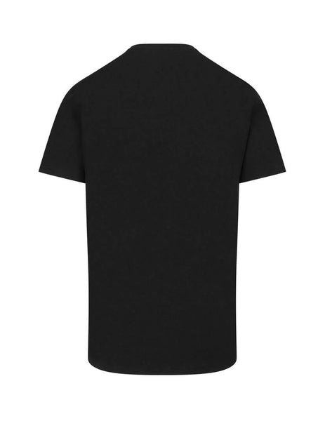 Moschino Men's Black Metallic Logo Cotton T-Shirt A071520401555