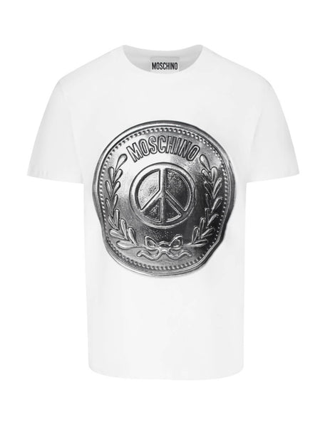 Moschino Men's White Shield Cotton T-Shirt A071820401001