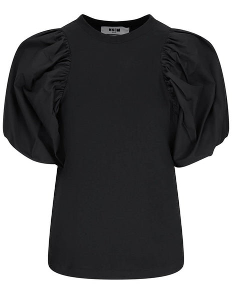 Women's MSGM Balloon Sleeve Tee in Black - 3041MDM75-217298-99