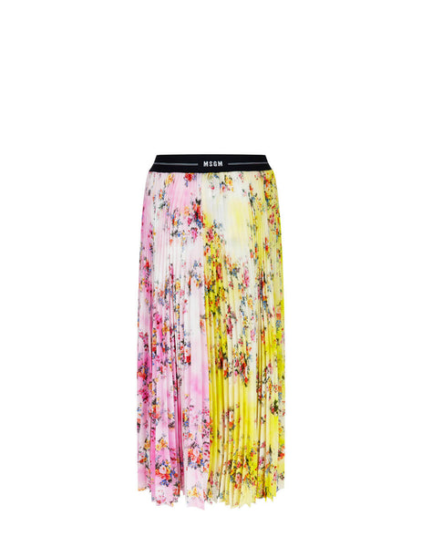 Women's MSGM Floral Pleated Skirt in Pink/Yellow - 3041MDD30PY-217152-12