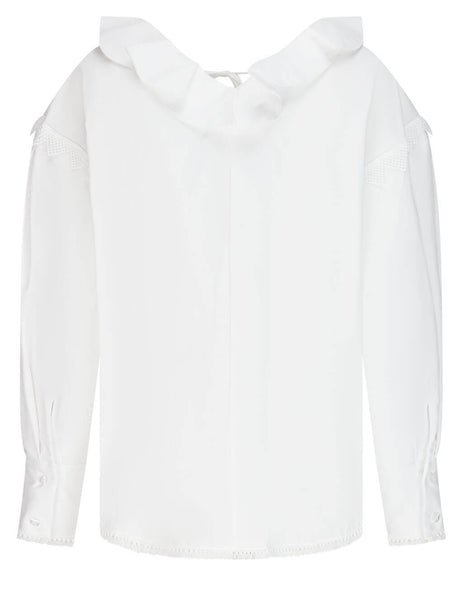 Women's MSGM Fringe Trim Blouse in White - 3041MDM17 217104-01