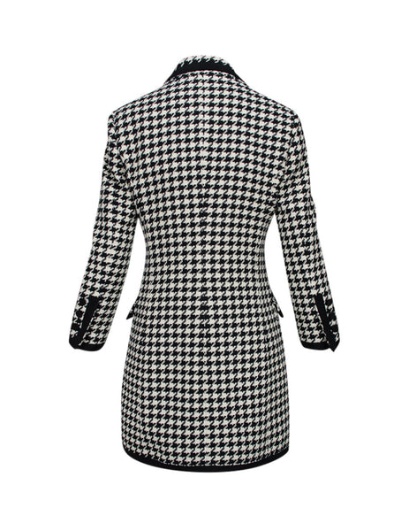 MSGM Women's Black/White Houndstooth Blazer Dress 2841MDA193 207109-99