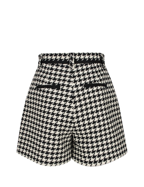 MSGM Women's Black/White Houndstooth Shorts 2841MDB08207109-99