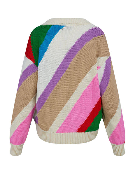 Women's Cream MSGM Multi-Striped Jumper 2842MDM21120749403
