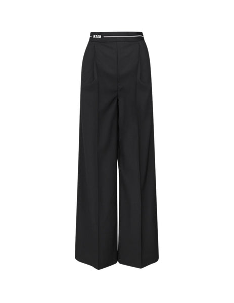 MSGM Women's Black Wide Trousers 2841MDP24 207118-99