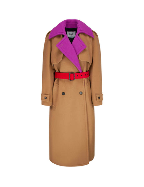 womens msgm wool blend trench coat in camel brown 2941MDC20Y-207521-24