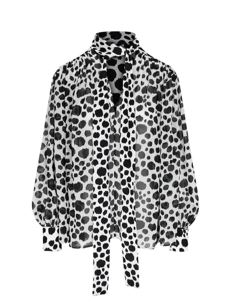 Women's MSGM Animalier Shirt in Black/White. 2941MDM12Y 207687 02