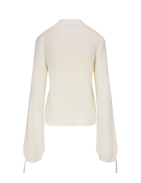Women's MSGM Balloon Sleeve Jumper in White. 2941MDM132 207793 02