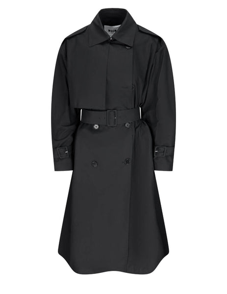 Women's MSGM Cape Trench Coat in Black - 3041MDC05217104-99