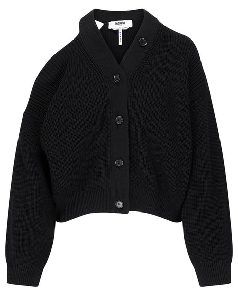 Women's MSGM Cut Out Shoulder Cardigan in Black - 3041MDM129 217291 99