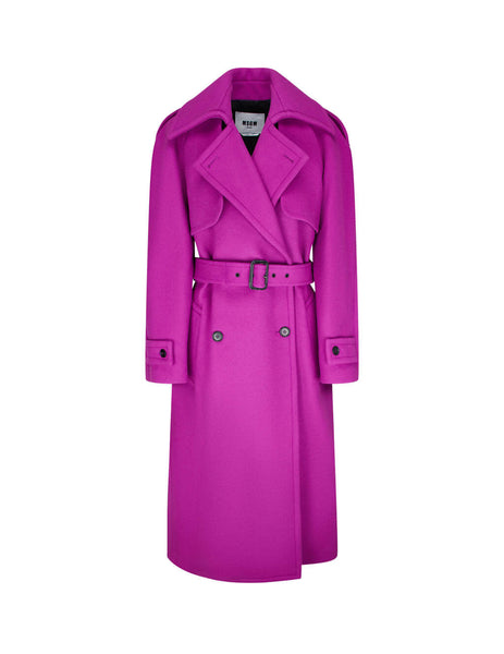 Women's MSGM Double Breasted Coat in Cyclamen Pink. 2941MDC20 207521 14
