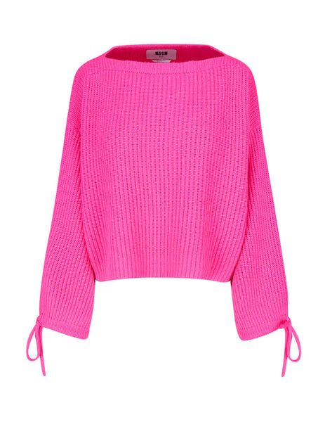 MSGM Women's Neon Pink Giulio Fashion Drawstring Sleeve Jumper 2941MDM119 207793 15