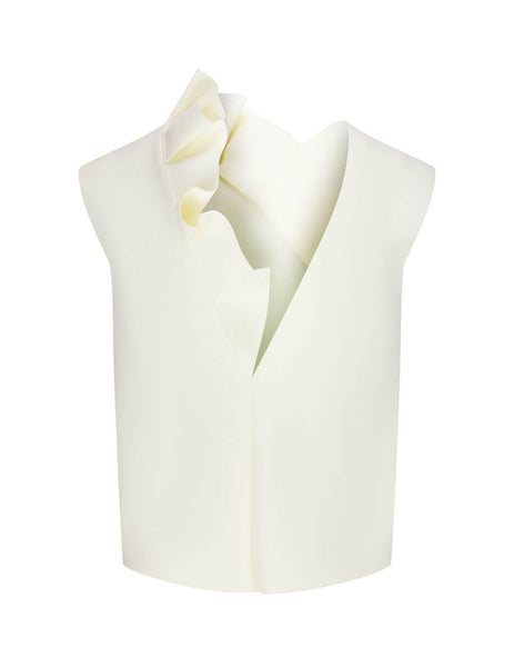 Women's MSGM Frill Insert Top in Milk White. 2941MDT03 207651 02